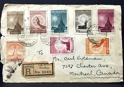 Thailand Registered Cover to Montreal Canada 1957 . With AV2 Marking .