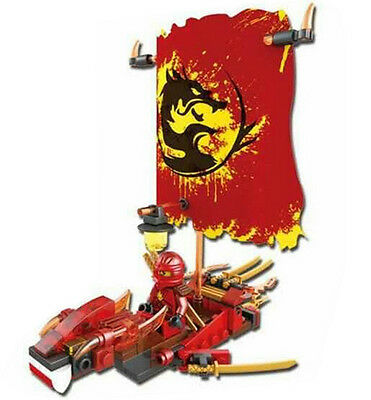 1 SET Ninjago RED Dragon Boat Ninja Building Blocks Mini Figures Toys Fit Lego