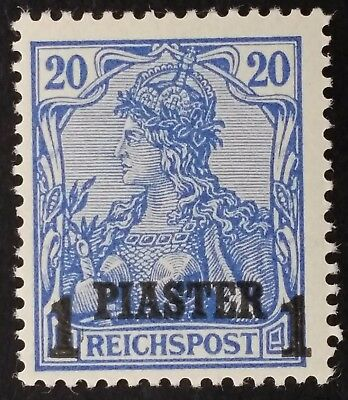 RARE 1900 Turkey (German Post) 1 Pia surch on 20 Pfg blue Germania stamp MUH