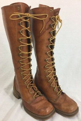 Vtg 1970's Light Brown Leather Lace Up Campus Boho Boots Sz 8 M USA