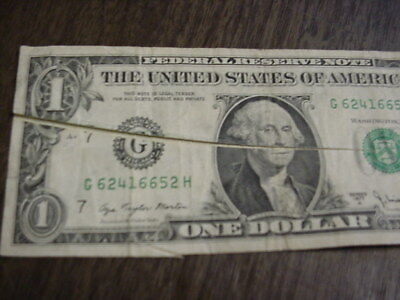 1977 A $1 One Dollar Federal Reserve Dramatic Double Huge Crease Fold Error Note