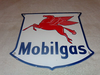 "Vintage Mobil Mobilgas Shield 11 3/4"" Porcelain Metal Pegasus Gasoline+ Oil Sign"