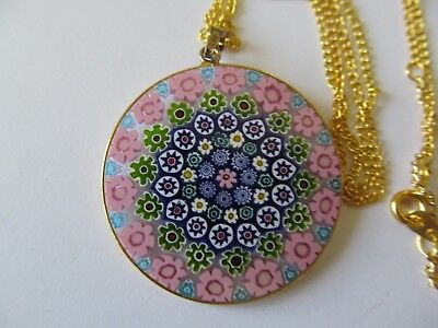 ITALIAN MICRO MOSAIC ROUND SHAPE PENDANT wCOLORFUL DESIGNS GOLD PLATED NECKLACE
