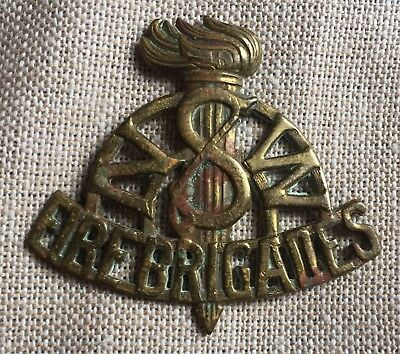 Vintage New South Wales Fire Brigades Hat Badge Brass  No Lugs