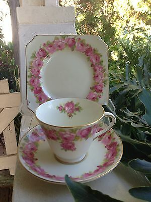 Beautiful Vintage Royal Doulton Pink Roses V2339 Cup Saucer & Plate Trio