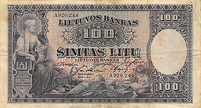 Lithuania  100  Litu  31.3.1928  P 25a  Series A  Circulated Banknote  TM1017BPT