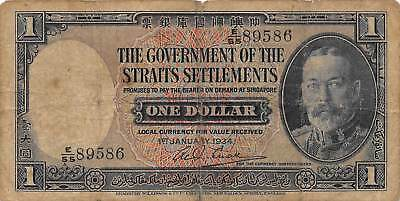 Straits settlements 1.1.1934  P 16a  Series E/55 better date Circulated Banknote