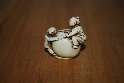 Chinese Carved Bovine Bone Two Boys On Rock Incense Holder