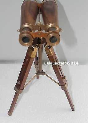 Antique Solid Brass Binocular Telescope With Tripod Stand  Marine Spyglass Gift.