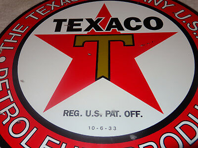 "Vintage Texaco ""petroleum Products"" 11 3/4"" Porcelain Metal Gasoline & Oil Sign!"
