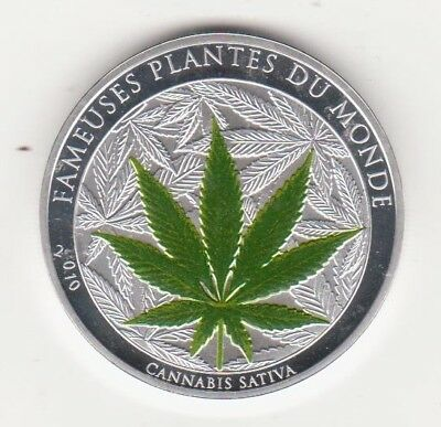 2010 Benin 100 Francs Cannabis Sativa Green Colour Silver Plated Proof M=2500
