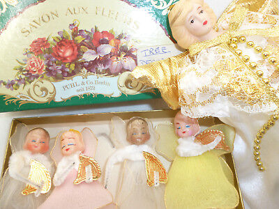 VINTAGE RETRO XMAS ANGELS 4 in old soap box & 1 tree top with CHINA FACE 16cm h