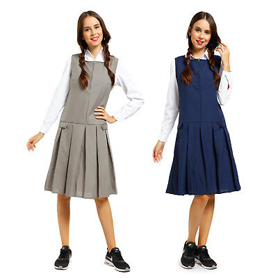 Girls Kids School Pinafore Pleated Dress School Uniform Zip Front 13 14 15 16 Yr