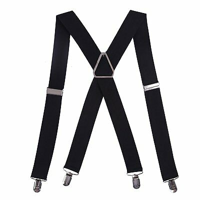 "HDE Mens Big and Tall X-Back Clip Suspenders 1.5"" Wide Adjustable 55"" Long Bla"