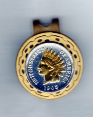 Indian Head Cent Coin Gold on Silver Hat Clip /Golf Ball Marker Free US Shipping