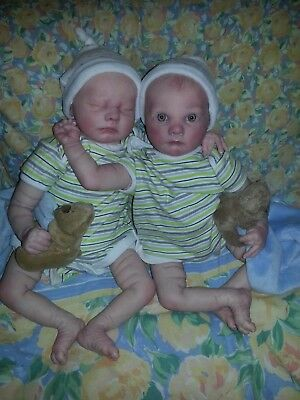 TWINS Real born Asher Awake and Asher Asleep  Limited Edition Reborn Baby Dolls
