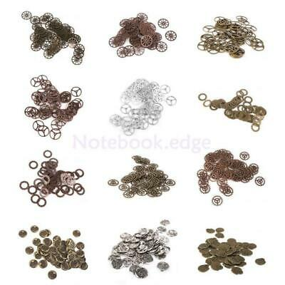 50pcs Metal Antique Bronze Silver Steampunk Cogs and Gears Clock Hand Charms