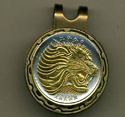 Ethiopia 10 Cent Lion Coin Gold on Silver Magnetic Hat Clip / Ball Marker Gift