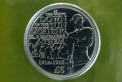 Guernsey C.I. 1914 - 2014 WWI 100th Anniversary British Royal Mint £5 Crown Coin