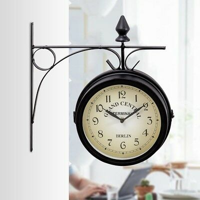 Home Vintage Antique Double Side Wall Mounted Station Clock Retro Decor