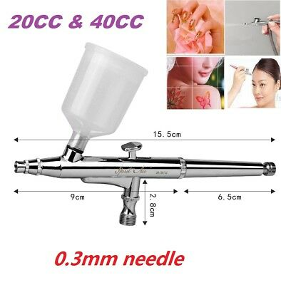 Professional Dual Action Trigger Air Paint Control Airbrush 0.3mm 20/40CC Nozzle