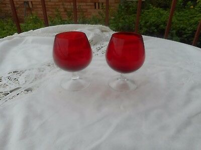 2 Vintage Red Glass Port Or Sherry Glasses