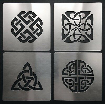 Celtic Knot Love Dara Trinity Quaternary Shield Metal Stencil Template 4cm