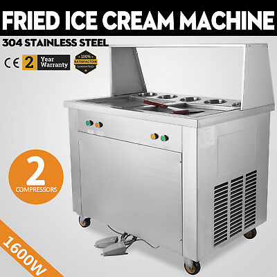 1600W Fried Ice Cream Machine  2 Square Pan 5 Boxes Maker Stainless Steel 110V