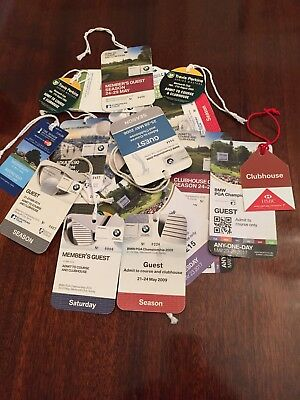 Collection Of Golf Passes Various Years