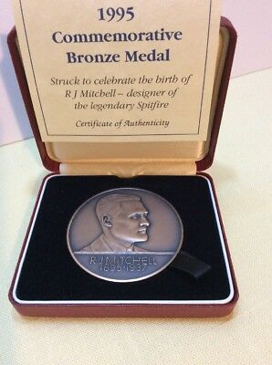RJ MITCHELL 1895-1937 Boxed Bronze Medal. Creator Of Famous Aircraft.