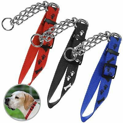 Thick Metal Pet Dog Chain Link Choker Collar Lead Leash Adjustable Nylon Strap