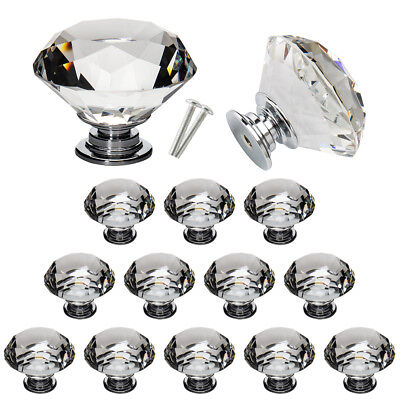 16PCS 40MM Clear Crystal Glass Door Knobs Handles Diamond Drawer Cabinet