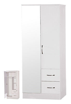 Marina | White Two Tone | Mirrored 2 Door & 2 Drawer Double Combi Wardrobe