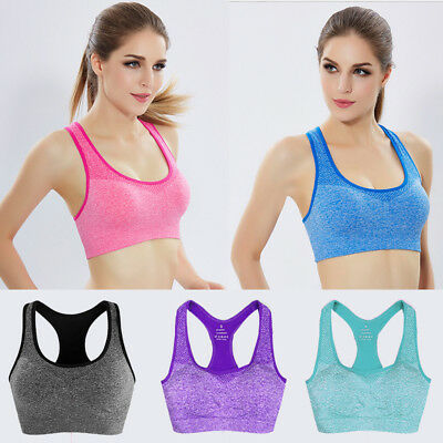 Womens Padded Sports Bra Ladies Gym Workout Fitness Exercises Running Crop Top