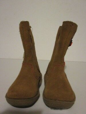 M & S Kids Infant Girls Brown Suede Fur Lined Floral Boots Size 4 Side Zip New