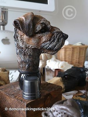 'Border Terrier' Walking Stick Handle - Arts & Crafts.