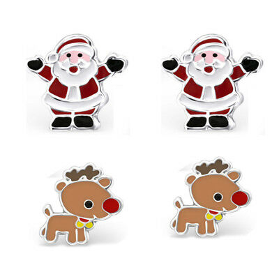925 Sterling Silver Father Christmas Santa Rudolph Kids Christmas Earrings Set