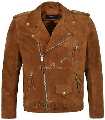 BRANDO FRINGE TAN Suede Jacket Men's Motorcycle STYLE REAL SOFT LEATHER MBF