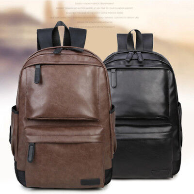 New Men's Women's PU Leather Backpack Laptop Satchel Travel School Book Bag Bags
