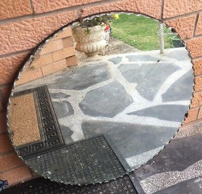 Vintage 1950's Art Deco Bevelled Edged Round  Mirror