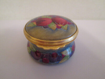 Beautifully Handpainted Moorcroft Enamels Trinket / Pill Box Fruit Signed Cy '99