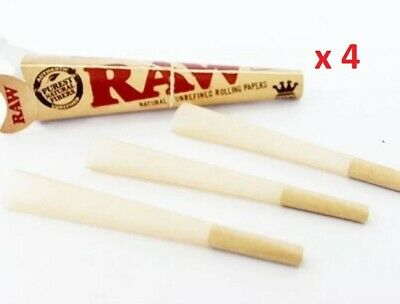 Raw Classic Natural Unrefined King Size Pre Rolled Paper 3 pack cone bulk x 4