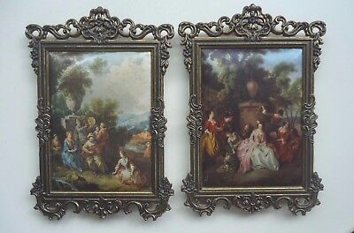 Vintage Ornate Rectangular Brass Picture Frames x 2 *Silk Prints *Made in Italy