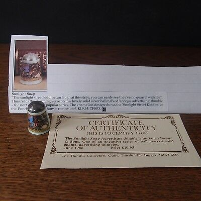 Thimble James Swann Silver & Enamel Sunlight Soap Advertising - Collectors Guild