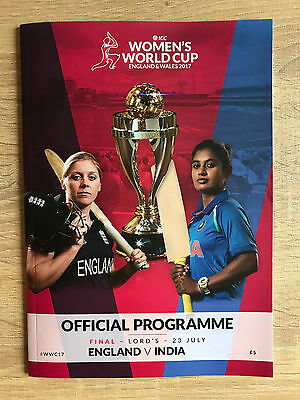 2017 ICC Women's Cricket World Cup Final Programme England vs India 23/7/2017