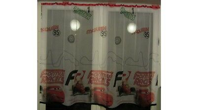 Luxury Disney Cars Lace Net Voile Curtain with Slot Top Fit & Ribbons