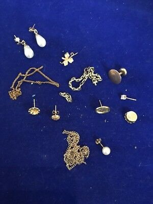 9ct Gold Earrings And Scrap Gold 375 Total Weight 7.9 G