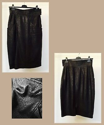 Gonna a vita alta in vera pelle anni '70 - '70s high waisted real Leather skirt