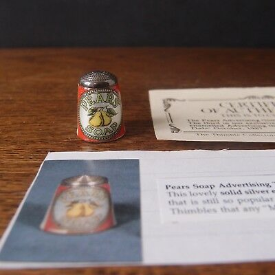 Thimble James Swann Silver & Enamel Pears Soap Advertising - Collectors Guild