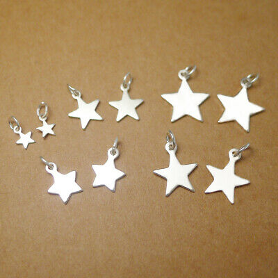 925 Sterling Silver Girls Tiny Lucky Star Necklace Earring Charm Pendant & Set